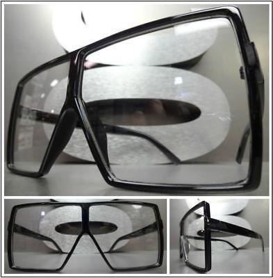Übergröße Vintage Retro Schild Stil Klarglas Brillen Schwarz Mode Fassung