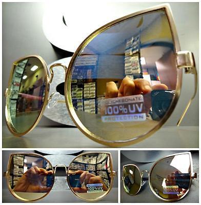 Übergröße Retro Cat Eye Stil Sonnenbrille Rotgold Rahmen Gold Spiegel Objektiv