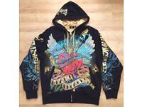 """Brand new authentic Christian Audigier men's luxury """"Heart Breaker"""" designer hoodie, Large"""
