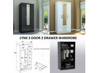 three door two drawer wardrobe, lynx black or white wardrobes, huge discount sale price, call now
