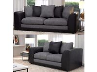 BRAND NEW BLACK AND GREY dylan 3+2 SEATER SOFA