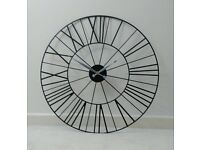 Large Black Metal Wall Clock