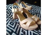 NEW LOOK BLOCK HEEL NUDE SANDALS - PERFECT CONDITION