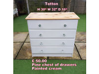 pine chest of drawers painted cream