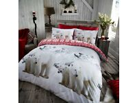 Snow Polar Bear Christmas Bedding Reversible 100% Brushed Cotton Flannelette