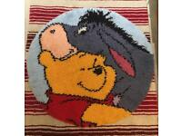 Winnie the Pooh and Eeyore rug - completed latch hook