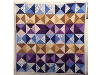 130 cm square (51 inches square) Muliticoloured Handmade Quilt Throw