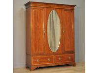 Attractive Large Antique Edwardian Inlaid Mahogany Mirror Door Triple Wardrobe