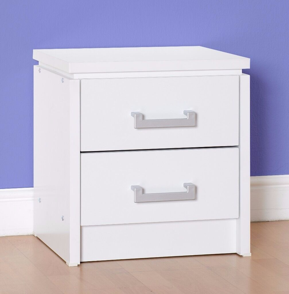 NEW Charles 2 drawer bedside in white or light oak effect only £55