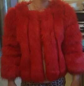 Red faux fur coat size M