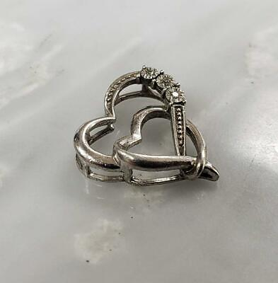 Diamond Accented Sterling Silver Heart Pendant 1.5grams 10-C4442 - $19.99