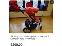 Quinny buzz travel system pushchair & Carrycot (red) &maxicosy
