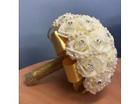 Custom Hand Made Artificial Gold and Ivory Rose Bridal Wedding Bouquet