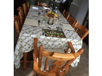 Solid Pine 6' x 3' Dining Table with 8 chairs (2 carvers with arms) in Cardiff / Newport