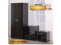 BLACK HIGH GLOSS BEDROOM FURNITURE - Wardrobe, chest & bedside cabinet