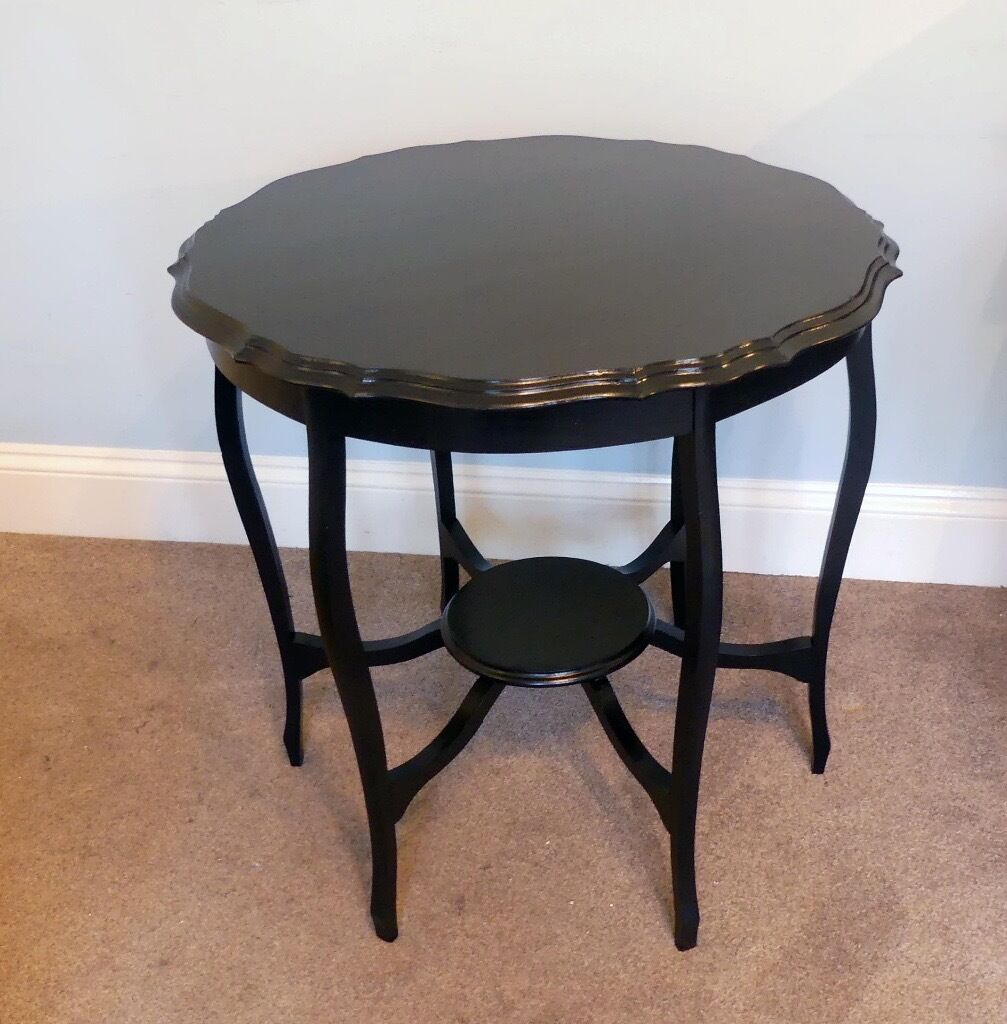 Retro Vintage Black Solid Wooden Round Ornate Hall Table Height