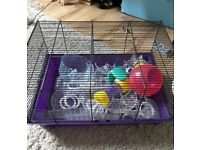 Hamster cage with acessories