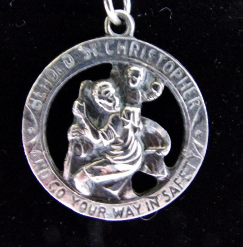 Sterling Silver St. Christopher Medal Pendant on a Snake Chain Necklace Italy