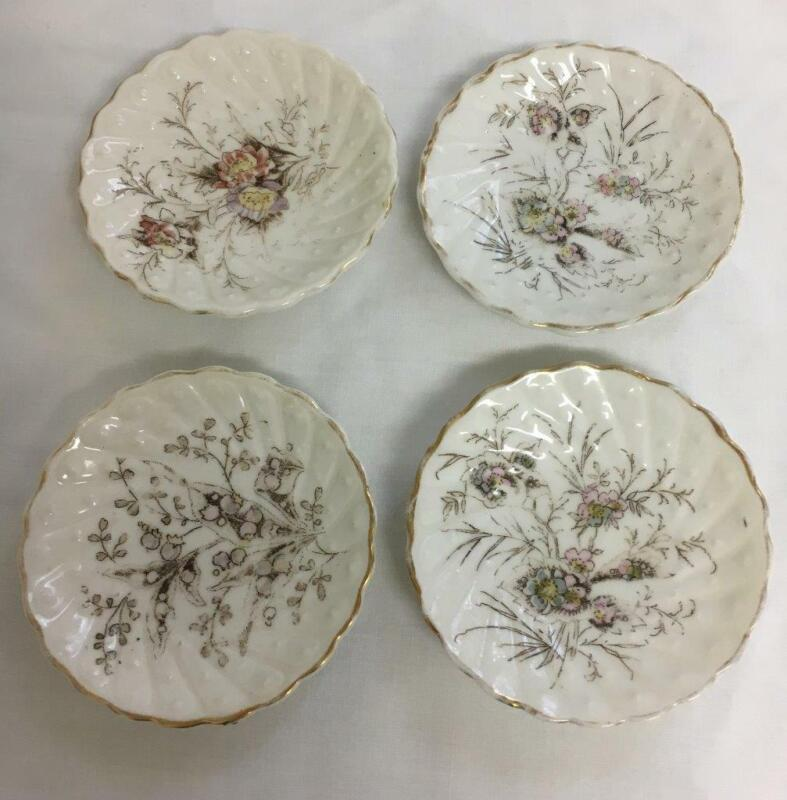 4 Vintage Butter Pats Ruffled Edge Floral Design Unmarked 3 Inch Diameter