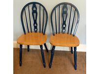 Pair Pine Kitchen Chairs