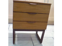 Vintage Teak Europa Bedside Cabinet, Chest Of Drawers, Quadrille Legs