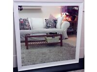 GORGEOUS LARGE WHITE MIRROR * AS NEW, BEAUTIFUL BEVELLED EDGE*