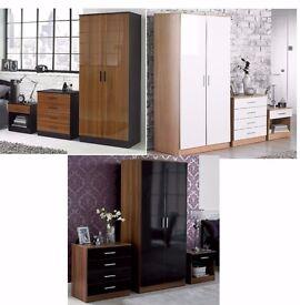 Brand New 3 Piece High Gloss Bedroom Set Wardrobe Chest Bedside Cabinet Oak/White Walnut/Black