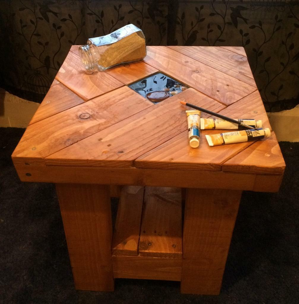 Handmade Solid Wood Side Coffee Table With Beach Centre