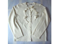 'Pure & Natural' size 10/12 tie neck, cream cardigan. 100% Acrylic Cashmillon. £3 ovno.