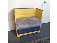 Unique Bench seat with storage drawer & fur cover