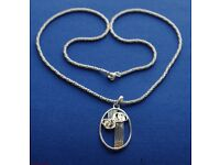Charles Rennie Mcintosh Necklace, Oval silver 925 Pendant and Chain