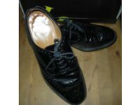 Black leather brogues by Loakes - Size 10