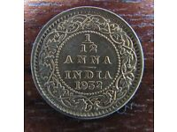 India 1/12 One Twelfth Anna coin Dated 1932 Superb Grade Almost Uncirculated Lustre