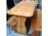 Pine table & benches