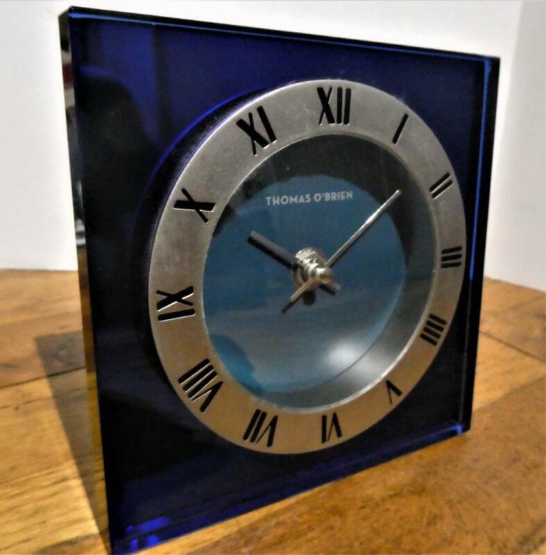 BLUE MIRRORED GLASS DECO STYLE CLOCK - THOMAS O
