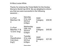 Womens 2018 hockey world cup tickets