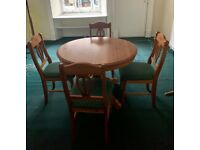 Pine dining table and 4 chairs