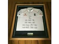 Signed framed cricket shirt 2008 test match team with Coa