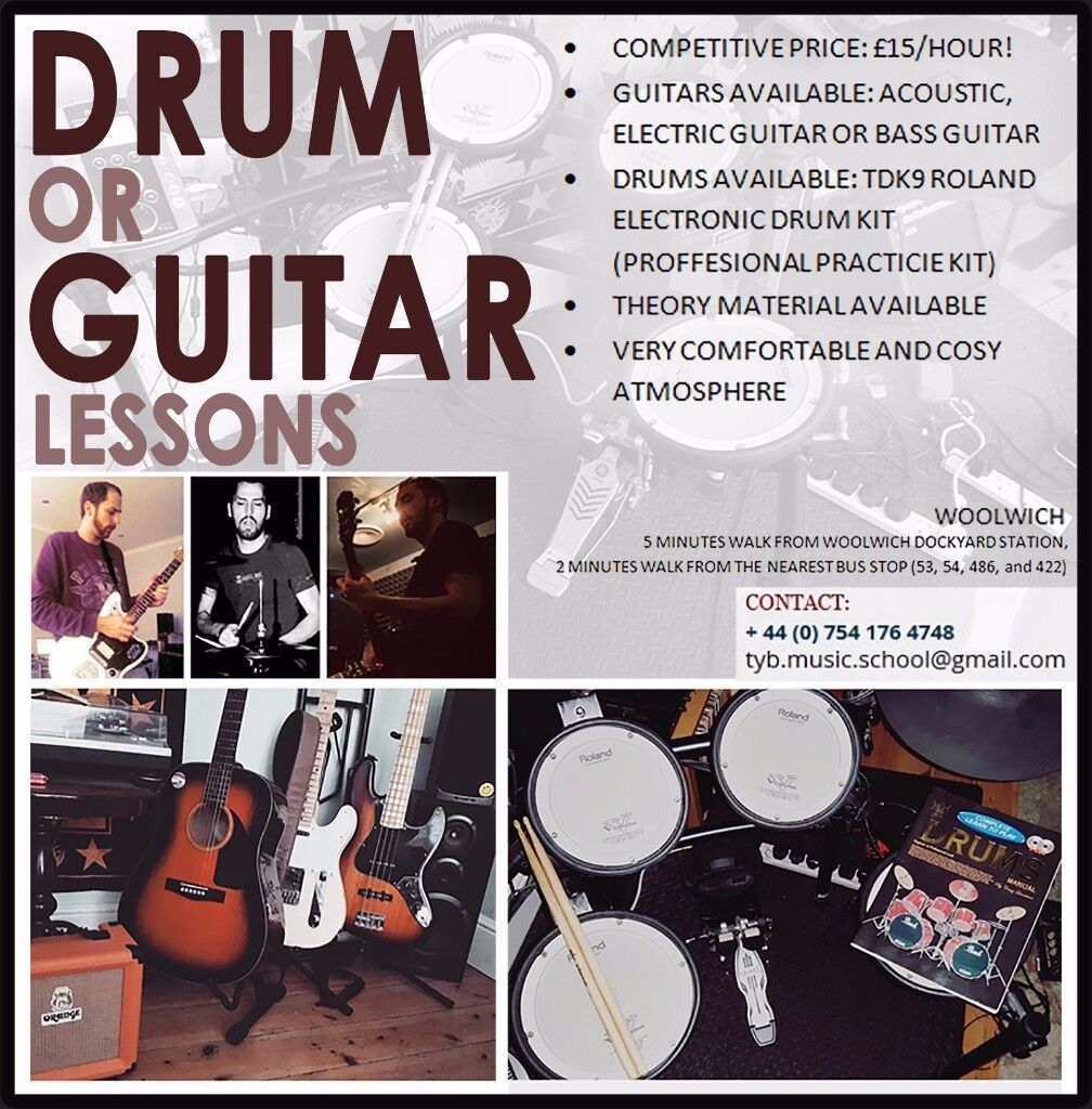 Guitar or Drum Lessons in SE London