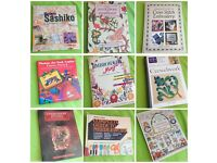 9 Books bundle: embroidery, needlework, cross stitch, crewelwork, sashiko