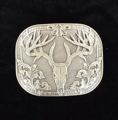Nocona Western Mens Belt Buckle 8-Point Deer Skull Silver Plated 37984