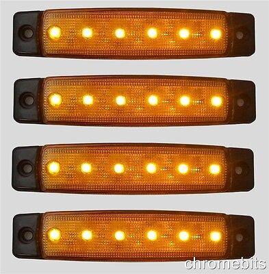 4 x 12V 12 VOLT SMD 6 LED AMBER SIDE MARKER LIGHT TRAILER VAN BUS REPEATER