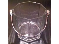 Luminarc 'Octime' Octagonal Glass Ice Bucket With Chrome Silver Handle (boxed)