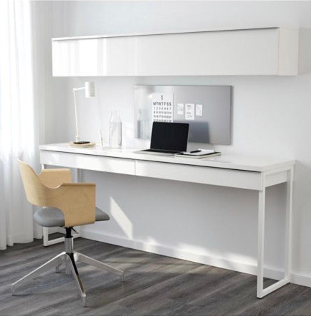 Rare Ikea Besta Burs Long Desk High Gloss In Rotherham