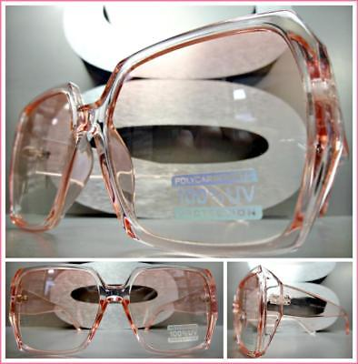 Oversized Classic Unique Retro Style SUN GLASSES Large Square Pink Frame & (Pink Square Glasses)