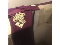 WOW! COMPLETE SET! GOOD QUALITY! Beautiful LONG Purple Curtains ONLY £15! complete Tie Back & Hooks!