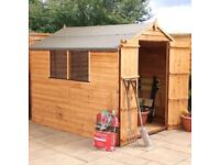 8x6 WOOD GARDEN SHED DOUBLE DOOR WINDOWS APEX ROOF FELT SHED 8ft x 6ft STORAGE