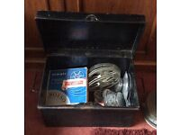 Large old tin chest containing old film, reels etc