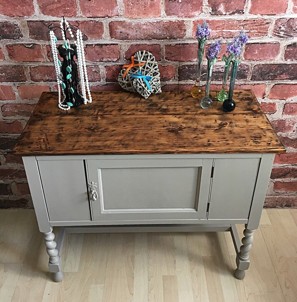 Antique Solid Wood Hall Cabinet Sideboard Dresser Shabby Chic