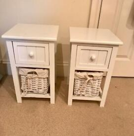 2 x white shabby chic bedside tables